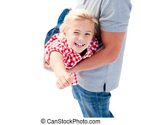 Close-up of little girl enjoying piggyback ride with her father