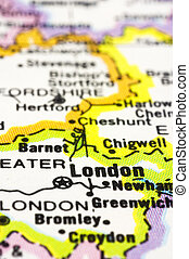 close up of London on map