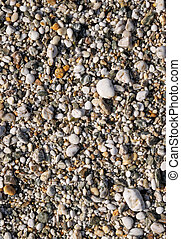 Close up of lots of wet pebbles on a beach.