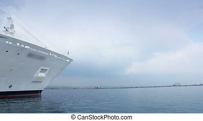 Close up of luxury cruise ship leaving port