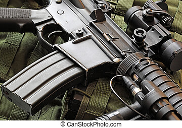 Close-up of M4A1 (AR-15) carbine - Close-up of a scratched...