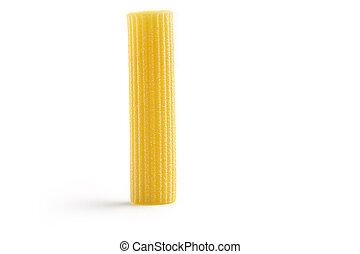 close up of macaroni isolated on white background