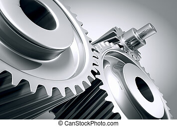 Close up of machine gears. - Close up of a group of ...