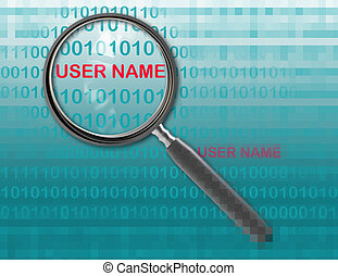 user name - Close up of magnifying glass on user name
