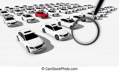 Close up of magnifying glass. Illustration of Hundreds Cars...