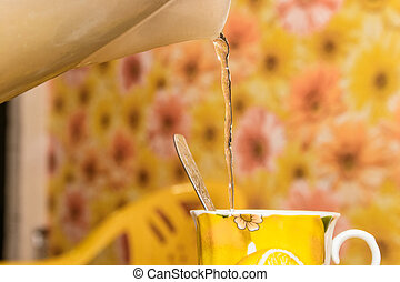 Close up of making a cup of tea