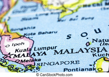close up of malaysia on map