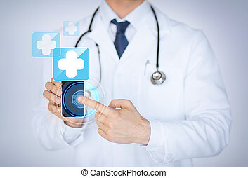 doctor holding smartphone with medical app - close up of...