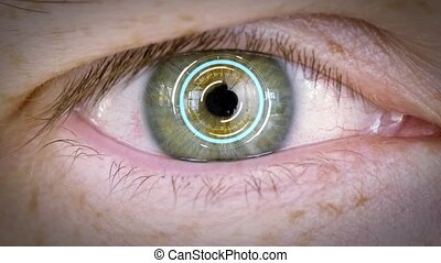 close up of male eye with iris or retinal scan - future...