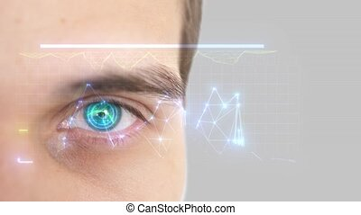Close up of male eye with iris scan. Future technology,...