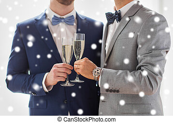 close up of male gay couple with champagne glasses