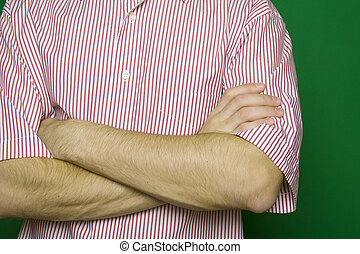 Close up of male hands crossed