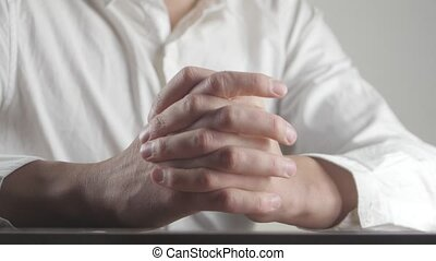 Close up of Male hands expressing fear and anxiety. Man...