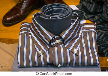 Close up of male shirt - Close up of striped male shirt and...