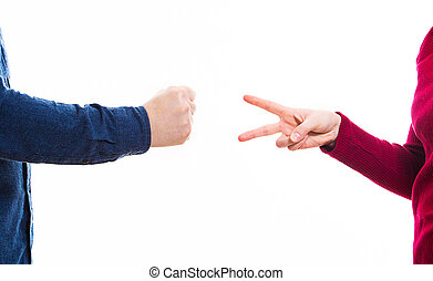 playing rock paper and scissors game