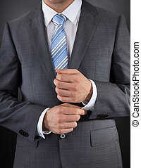 Man Dressed In Suit - Close-up Of Man Dressed In Suit With...