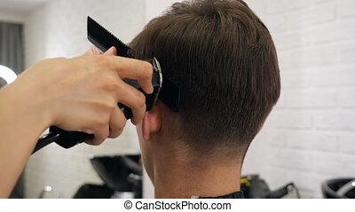 Close up of man hair cut