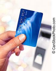 plastik credit card - Close-up of man hand holding plastik...