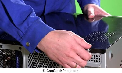 close up of man hand repair computer motherboard. 4K