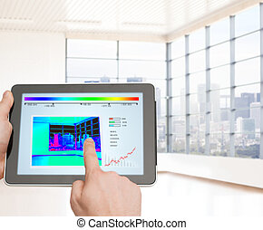 close up of man hands touching tablet pc screen - home,...