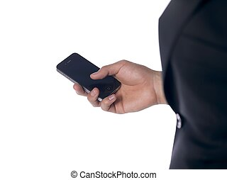 close up of man holding cellphone