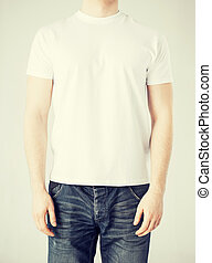 man in blank t-shirt