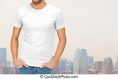 close up of man in blank white t-shirt - clothing design,...
