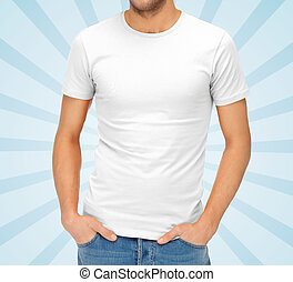 close up of man in blank white t-shirt