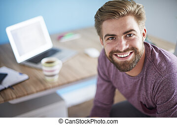 Close up of man that works at home