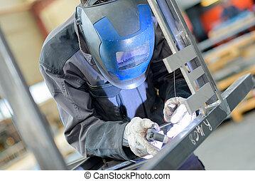 Close up of man welding