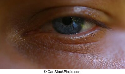 Close-up of man's eye, nervous movement. Macro