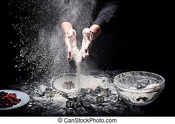 Close up of mans hands making cookies