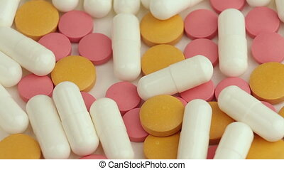 Close up of many different spinning drugs