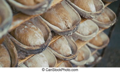 Close up of many fresh loafs of rye bread