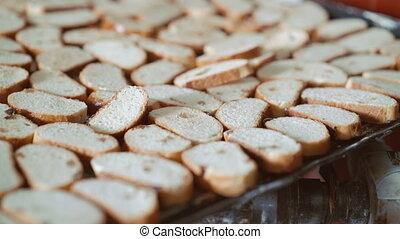 Close up of many fresh toasts with raisins