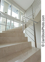 Close-up of marble stairs in luxury mansion