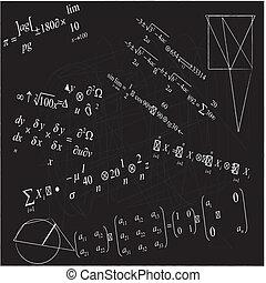 close up of math formulas on blackboard - close up of math...