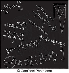 close up of math formulas on blackboard