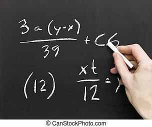 Mathematics on a blackboard