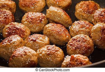Close-up of meatballs