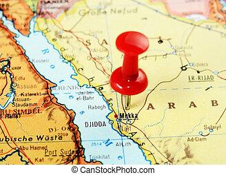 Mecca,Saudi Arabia map - Close up of Mecca,Saudi Arabia map...