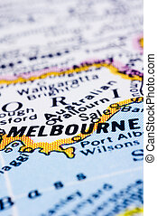 close up of melbourne on map, Australia