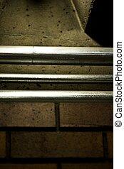 Close up of metal pipe ra