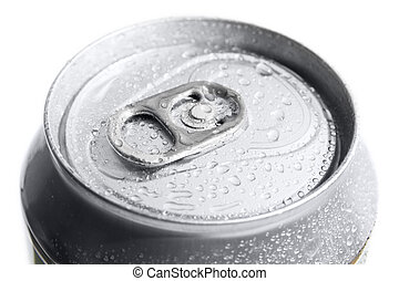 Close-up of metallic beer or soda can on white background. Metal can shoot from top.