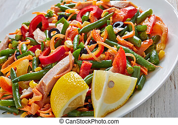 close-up of mexican salad with veggies and ham