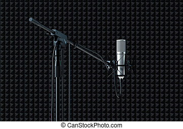 Close up of microphone set up isolated on black background. 3d rendering.