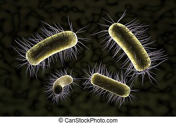 close up of microscopic bacteria , 3d illustration