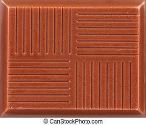 Close up of milk chocolate bar.