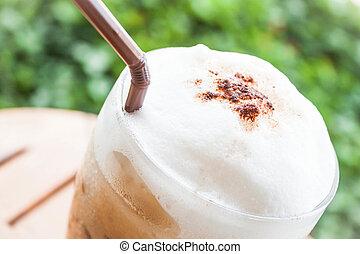 Close up of milk micro foam on frappucino