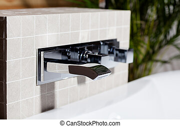 Close-up of mixing faucet
